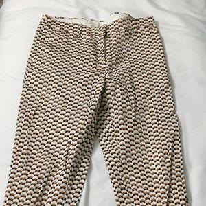 H&M burnt orange and navy blue geometric pants